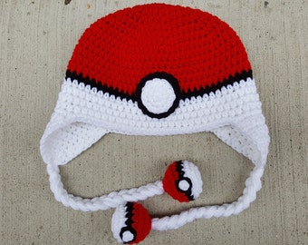 Pokemon Pokeball Hat with Pokeball Tassels (Newborn-Adult)