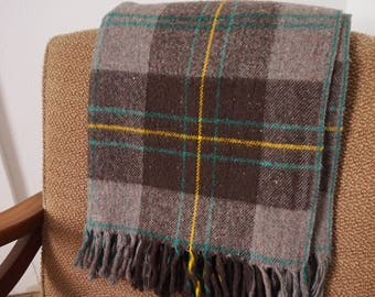 Thick Vintage Soft Brown Plaid Wool Picnic Blanket with Fringe