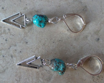 Turquoise and Arrow Bead Earrings