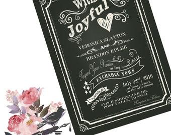 Printable Wedding Invitation / Vintage Wedding Invitation / Chalkboard wedding invitation / DIY Bride