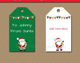 From Santa Tags, Santa Gift Tags, From Santa Stickers, Printable Santa Labels, Downloadable Christmas Tags Digital Christmas Tag Template C5
