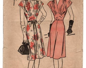 """1940's Advance One Piece Dress with Cross over front pattern - Bust 34"""" - No. 4138"""