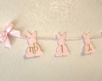 Bunny 1st Year Photo Banner in Pink and Gold.  Some Bunny is One!  First Birthday Decorations.  Spring Birthday Party Decor.