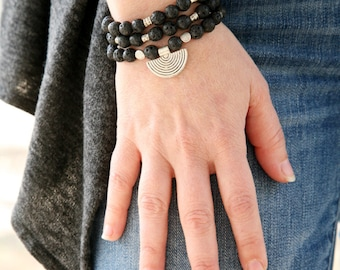 Layered bracelet /necklace ~ beaded necklace ~meditation bracelet ~versatile necklace ~crescent necklace ~tribal inspired ~ mala necklace