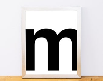 Lowercase Letter M, Typography Print, Printable Monogram, Printable Art, Minimal Decor, Black and White Wall Art, Digital Download