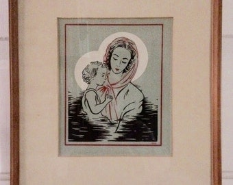 Madonna and Child Signed DKD Vintage Marymount School Screen Print
