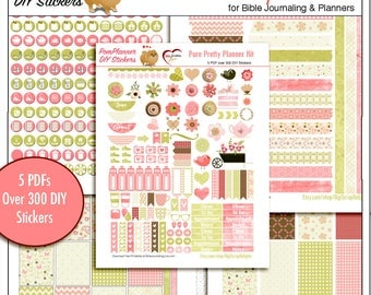 Pure Pretty Planner Kit! 5 PDF, 300+ DIY Stickers  EC Happy Planner in Corals, Pinks, and Greens Flowers & Birds