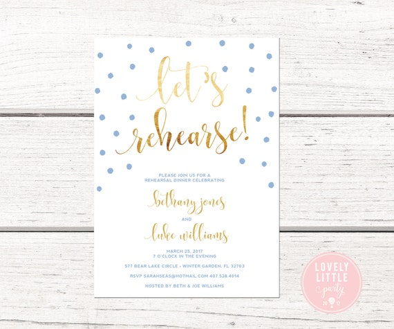 Let's Rehearse Confetti Dinner Invitation, Wedding Stationary, Wedding Rehearsal Dinner DIY Printable or Printed -  Lovely Little Party