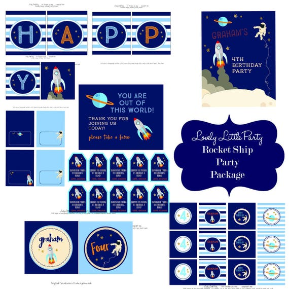 Personalized Printable Rocket Ship Birthday Package - LOVELY LITTLE PARTY