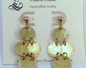 Brass Earrings, Gold Earrings, Handmade Earrings, Metal Earrings, Dangle earrings, Post Earrings, Trendy Earrings, Gift Ideas