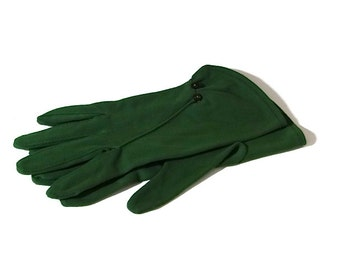 Vintage Women's Green Gloves with Tiny Buttons 1950's Accessories