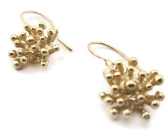 Solid Gold Earrings , Starburst , 14K Gold  Drop Earrings, Small Flower Earrings, Artisan Handmade by Sheri Beryl
