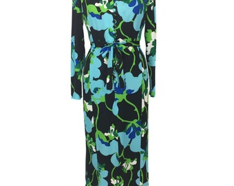 vintage 1970's floral maxi dress / polyester jersey / belted dress / women's vintage dress / size medium
