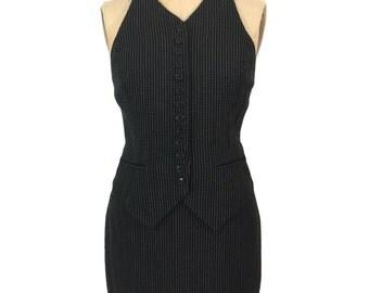 vintage 1980's NORMA KAMALI vest suit / black white / vest skirt set / pinstripe / gangster costume / women's vintage suit / size 6/8