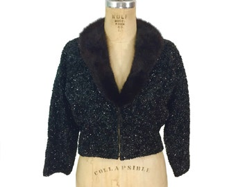 vintage 1950s sequin mink collar sweater / cropped sweater / fur collar / cardigan sweater / women's vintage sweater / tag size 42