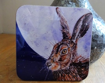 Purple Moon Hare Wooden Coasters - Set of 4 - Wipeable high gloss 9cm x 9cm coasters featuring original Wirelife hare textural art