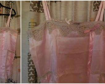 DEADSTOCK Vintage 1920s 30s Lingerie 30s Teddy Slip Step In NWT Negligee Flapper Deco Teddy Satin Lace Unworn XL chest 44 a few issues