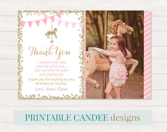 Carousel Thank you, Horse Party Thank you, Carnival Thank you, Carousel 1st Birthday, Photo thank you card, Printable DIY