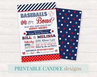 Baseball Gender Reveal, Baseballs or Bows, Gender Reveal Party, Baseballs or Bows, Gender Reveal Invitation, DIY Printables