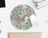 Round Mouse Pad, Mousepad, Cactus Mouse Pad, Succulents, Cactus Print, Cute Mouse Pad, Mint Green, Home Office, Desk Accessories, Gift