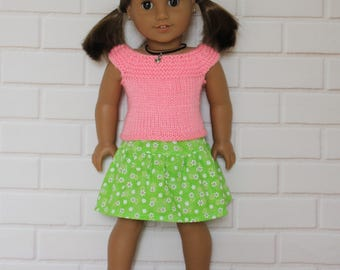 """Pink Knitted Top Lime Green Flower Skirt - Dolls clothes to fit 20"""" Australian Girl dolls & 18"""" American Girl doll and friends"""