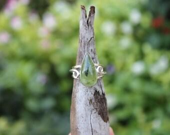 Reiki Attuned Prehnite Silver Ring Size 6.5