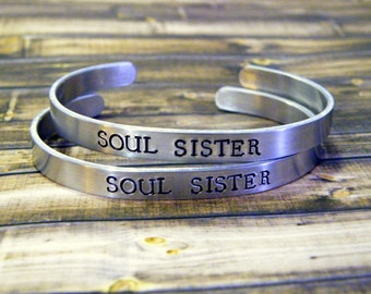 Soul Sister Set of Two Hand Stamped Aluminum Cuff Bracelet, best friends, sister, tribe, strong women,