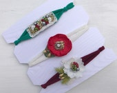 3 Tieback headbands set~Christmas headbands~Christmas~Grab bag~Photo props~Photography prop~Photography items~Christmas set
