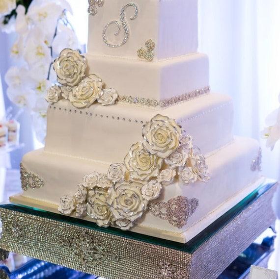 square wedding cakes with bling 22 square silver rhinestone cake stand for wedding 20416