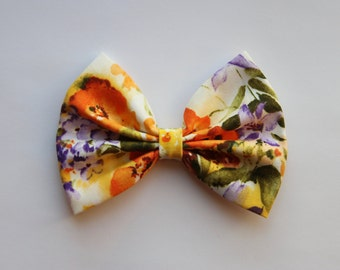 SALE - Jennifer Hair Bow - Colorful Floral Pattern Hair Bow with Clip