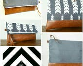 Foldover Clutch/Reversible/Gray and white print/Canvas clutch