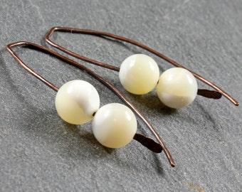 White Shell Earrings, hand forged copper threader earrings, ear crawlers, ear jackets, modern minimalistic earrings, gifts for her, 3363
