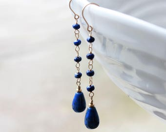 Lapis Lazuli Earrings, Goldfilled wire wrap, royal blue gemstone chain earrings, dangle earrings, boho, shoulder brush earrings,gift for her