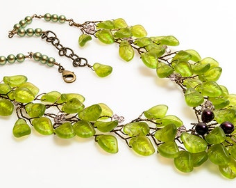 Purple and Green Statement Necklace with leaves, Nature Jewelry, Bib Necklace, Rustic Wedding Jewelry