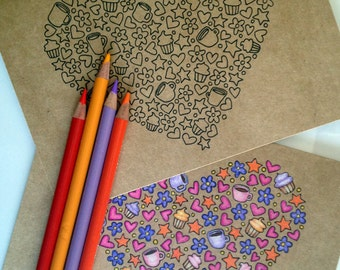 A Full Heart Coloring Card, Brown 5x7