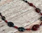 Jasper necklace - unisex necklace - short necklace - fall color jewelry - dark silver necklace - brown necklace - one of a kind - handmade