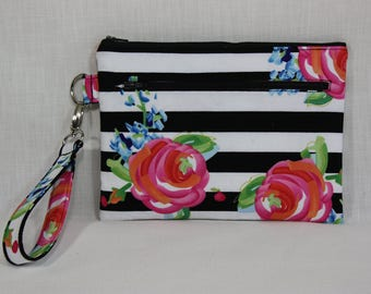 Black and White Watercolor Ayden Wristlet