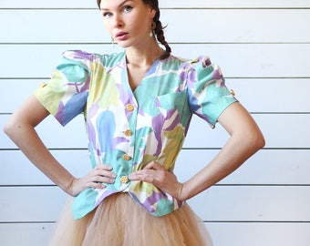 80s French vintage colorful floral print button up puffed shoulder blouse top L