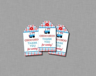 Train Thank You Favor Tags red blue boy MB32 Printable - Instant Download