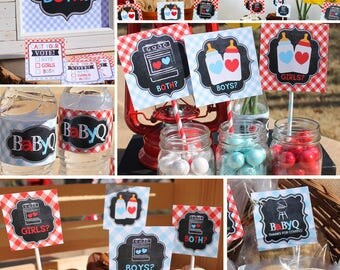 Twins Gender Reveal Party Decorations Twins Baby Q red blue Cameron GR04 Printable - Instant Download