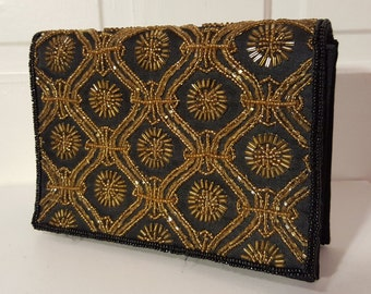 BEADED EVENING BAG // Vintage 80's Party Beaded Clutch 90's Black Party Fold Over
