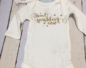 Baby Girl, new born Brand Sparkling New, hat and bodysuit,  0-3 months,   Gold  Vinyl transfer lettering.  Perfect coming home outfit.