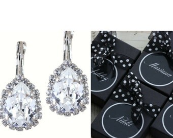 Crystal Bridesmaids Earrings Set of 3 4 5 6 7 8 9 10 Pairs Bridal Party Gift Personalized Box Wedding Pear Swarovski Crystal Clip On Avail