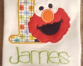 Personalized Elmo First birthday machine embroidered shirt...sesame street..birthday number..birthday digit..1st birthday party