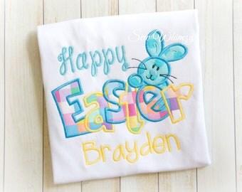 Easter shirt or bodysuit- Easter bunny shirt or bodysuit- Boy bunny shirt and bow