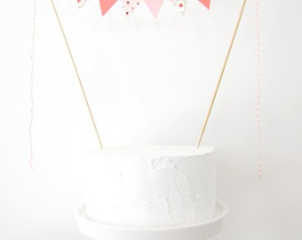 Pretty in Peach Cake Topper - Fabric Cake Bunting, Wedding, Birthday Party, Shower Decoration, tulip floral polka dots pastel pink apricot