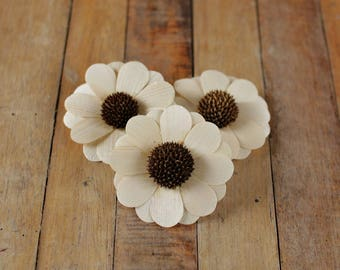 Wooden Flowers - 12 Pcs Natural Zinnia for Weddings and Other Floral Decorations