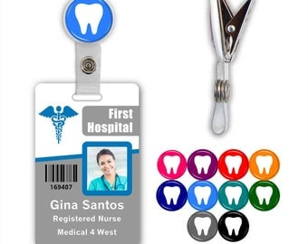 Dental Tooth Badge ID Name Tag Clip - Available in 10 colors