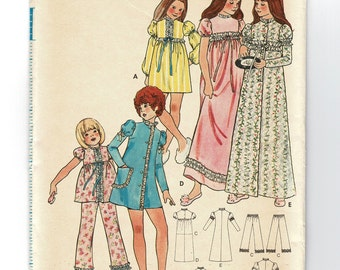 childrens girls pajama nightgown & robe Butterick 6474 sewing pattern, high waist gown, size 4 breast 23 uncut jammies pattern