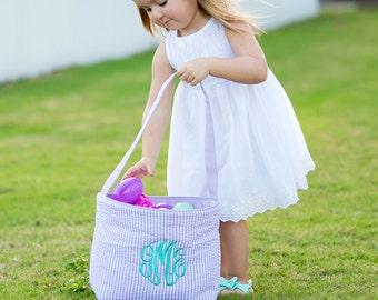 Seersucker Easter Basket, Monogram Easter Basket, Personalized Easter Basket